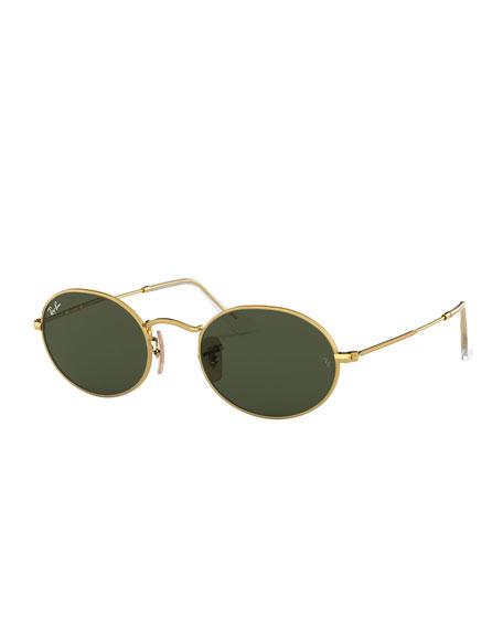 Ray-Ban Monochromatic Oval Metal Sunglasses