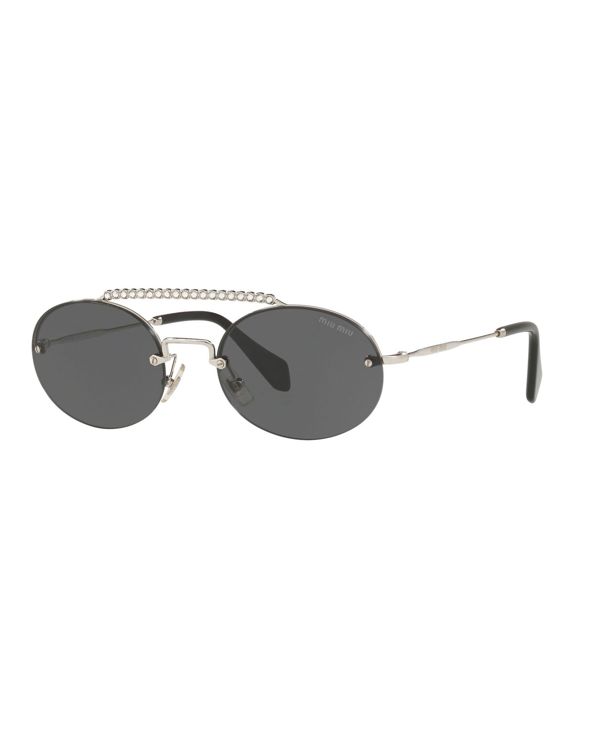 a906a107d0a8 Miu Miu Semi-Rimless Oval Sunglasses w/ Crystal Embellishment ...