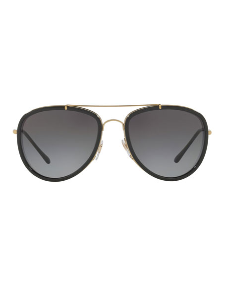 Burberry Steel Aviator Sunglasses w/ Check Arms