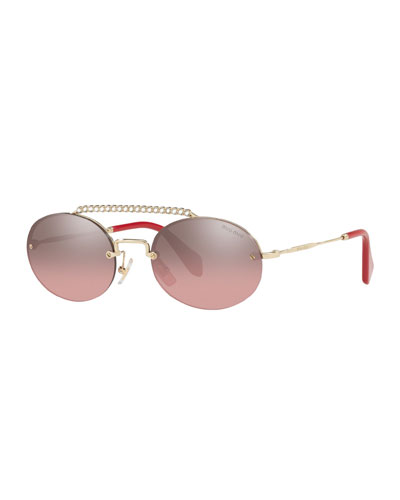 Semi-Rimless Oval Mirrored Sunglasses w/ Crystal Embellishment