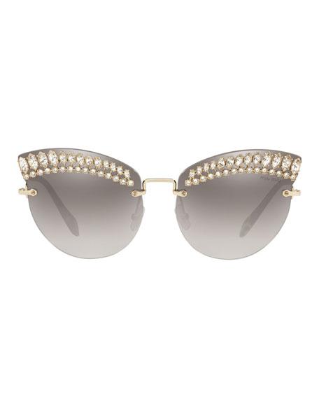 Miu Miu Crystal Trim Rimless Cat-Eye Sunglasses