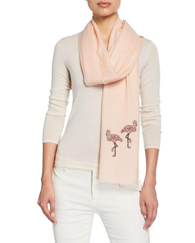 The Safari Begins Flamingo Merino Wool Scarf