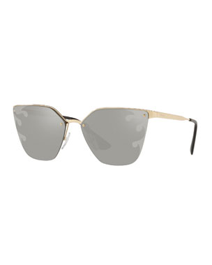 db36f35548 Prada Semi-Rimless Mirrored Cat-Eye Sunglasses