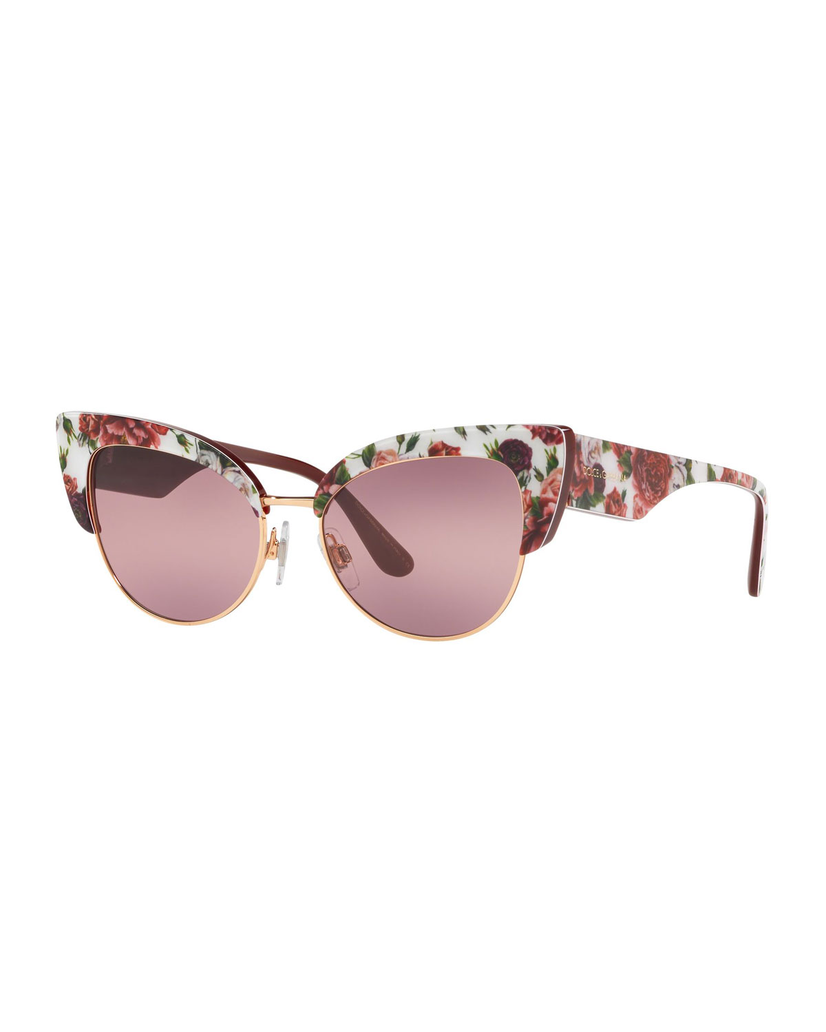 694690c0d Dolce & Gabbana Floral Printed Acetate Cat-Eye Sunglasses | Neiman ...