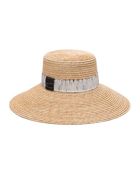 Eugenia Kim Annabelle Straw Sun Hat w/ Contrast Trim