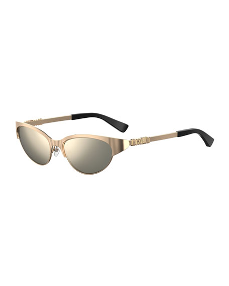 Moschino Oval Mirrored Metal Sunglasses w/ Logo Detail