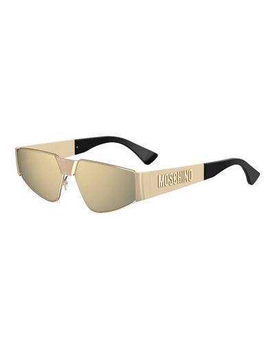 Mirrored Metal Shield Sunglasses w/ Logo Arms