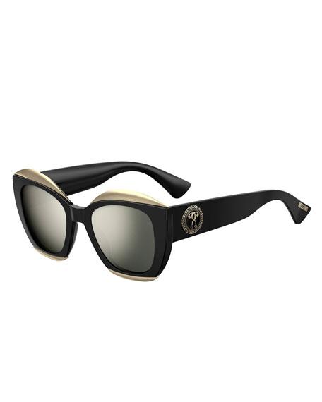 Moschino Mirrored Square Acetate Sunglasses