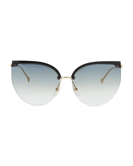 Salvatore Ferragamo Semi-Rimless Cat-Eye Sunglasses
