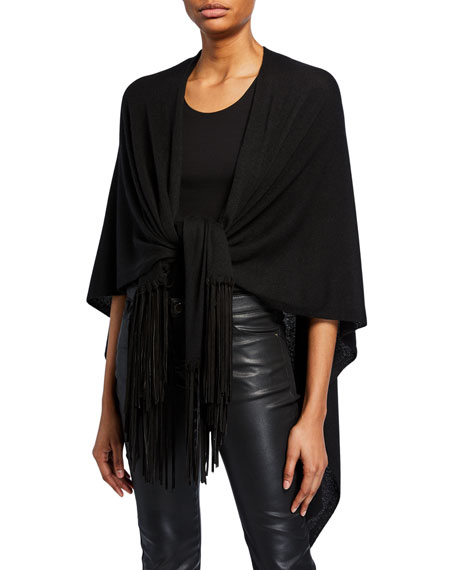 Emporio Armani Sueded Fringe-Trim Shawl