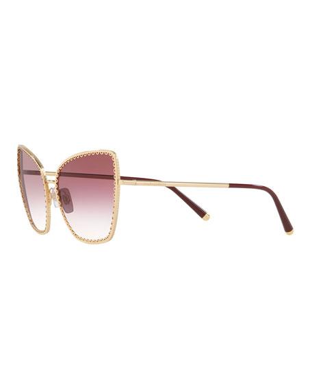Dolce & Gabbana Gradient Cat-Eye Sunglasses w/ Scalloped Frame Front