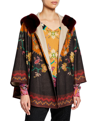 Neo-Nomad Cashmere Cape with Fur Collar