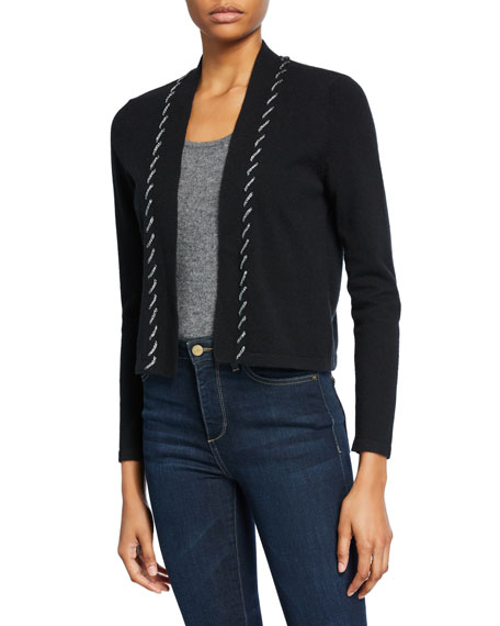 Neiman Marcus Cashmere Collection Cashmere Shrug with Chain Whipstitch Trim