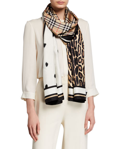 Image 1 of 2: Burberry Vintage Check Animal-Print Silk Scarf