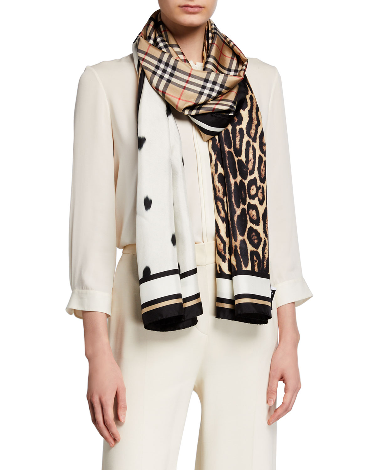 Burberry Vintage Check Animal-Print Silk Scarf