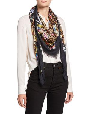 e384f330ce22 Dolce & Gabbana Butterfly & Leopard Print Modal/Cashmere Scarf