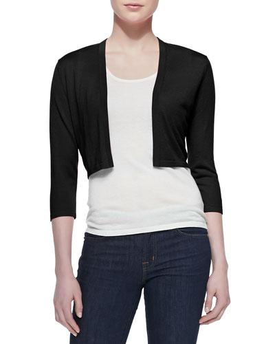 3/4-Sleeve Silk-Cashmere Shrug  Black
