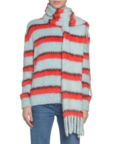 Marc Jacobs (Runway) Fuzzy Striped Silk-Knit Scarf