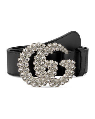 d6eeb9339 Gucci Leather Belt w/ Double G Crystal Buckle. Favorite. Quick Look