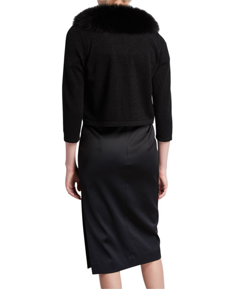 Neiman Marcus Cashmere Collection Cashmere Shrug with Fur Collar