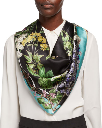 Kelly Double Sided Silk Floral Scarf