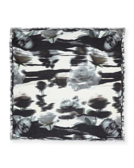 Alexander McQueen Warped Rose Modal-Wool Shawl