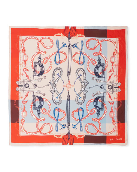 St. John Collection Mariner Print Silk Twill Scarf