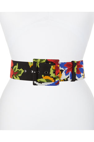 Carolina Herrera Floral-Stitched Square-Buckle belt