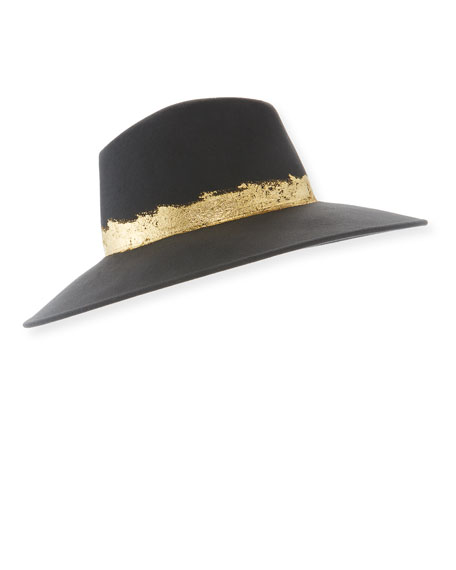 Eugenia Kim Emmanuelle Wool Fedora Hat with Metallic Band