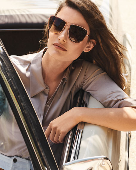 Image 2 of 3: TOM FORD Round Flattop Metal Sunglasses