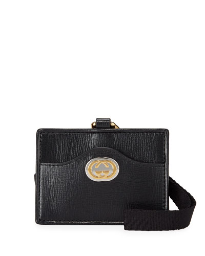 Marina GG Leather Card Case Wristlet