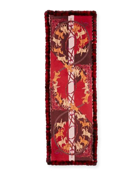 Kelli Kouri Horse Print Cashmere Wrap w/ Rabbit Fur Trim