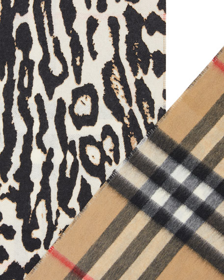 Burberry Giant Check Leopard Cashmere Scarf