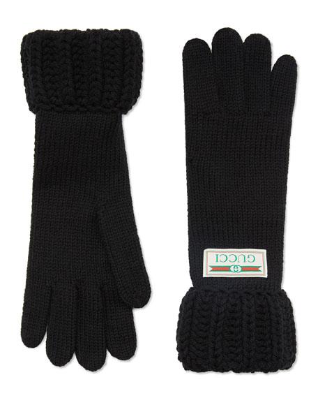 Gucci Knit Gloves w/ Logo Label