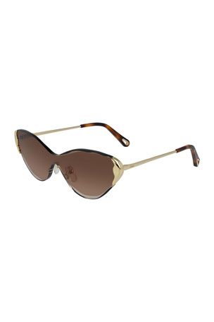 Chloe Rimless Cat-Eye Shield Sunglasses