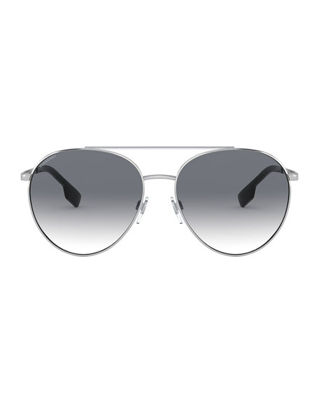 Image 2 of 3: Burberry Aviator Steel Sunglasses w/ Check Arms