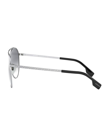 Image 3 of 3: Burberry Aviator Steel Sunglasses w/ Check Arms