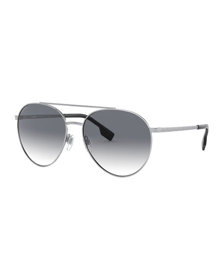 Image 1 of 3: Burberry Aviator Steel Sunglasses w/ Check Arms