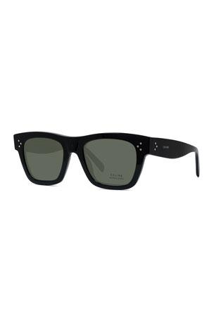 Celine Polarized Rectangular Acetate Sunglasses