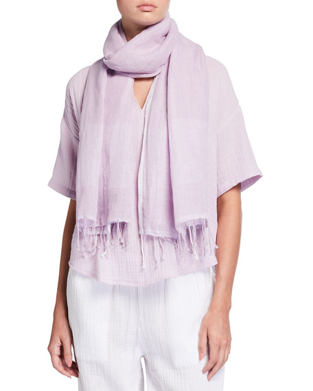 Image 1 of 2: Eileen Fisher Striped Organic Linen-Cotton Scarf