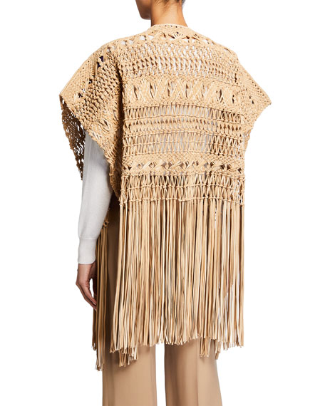 Image 2 of 4: Ralph Lauren Collection Krystie Macrame Leather Poncho
