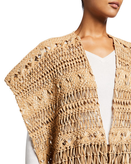 Image 3 of 4: Ralph Lauren Collection Krystie Macrame Leather Poncho