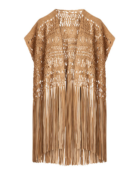 Image 4 of 4: Ralph Lauren Collection Krystie Macrame Leather Poncho