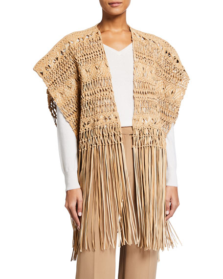 Image 1 of 4: Ralph Lauren Collection Krystie Macrame Leather Poncho