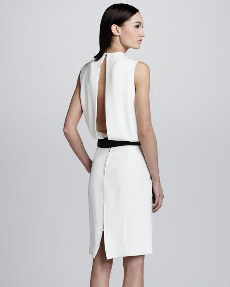 Blouson Bow-Belt Dress, White