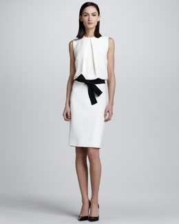Kaufman Franco Blouson Bow-Belt Dress, White