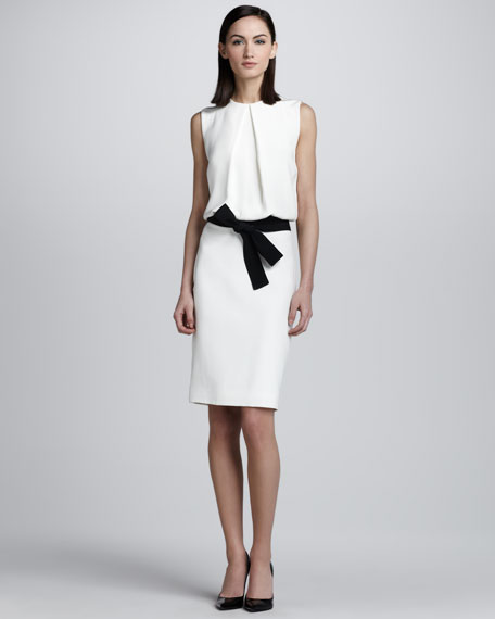 Blouson Bow-Belt Dress, White
