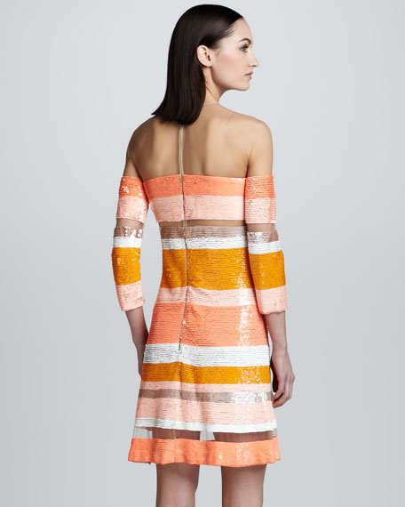 Sequin-Striped Sheer Dress
