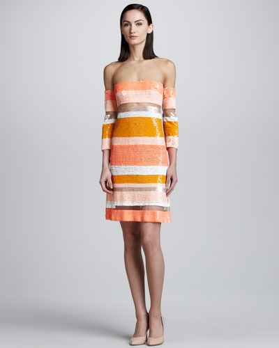 Kaufman Franco Sequin-Striped Sheer Dress