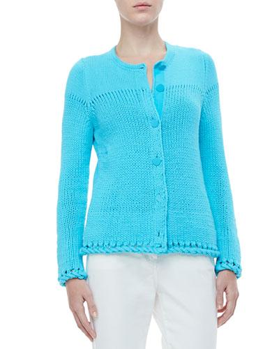 Rena Lange Hand-Knit Mixed-Stitch Cardigan